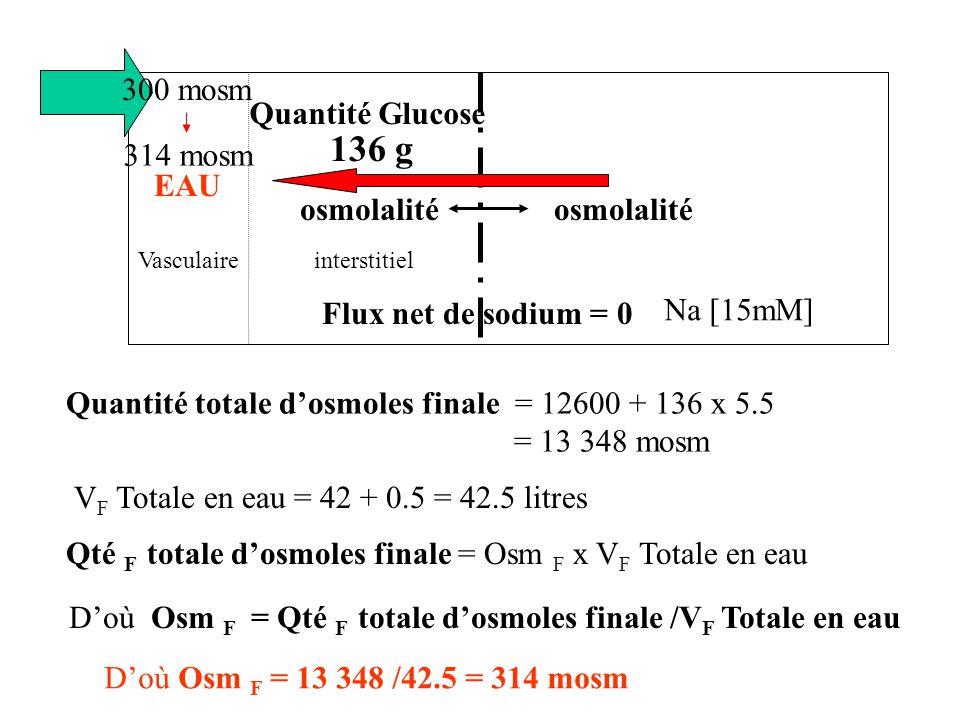 136 g 300 mosm Quantité Glucose 314 mosm EAU osmolalité Na [15mM]